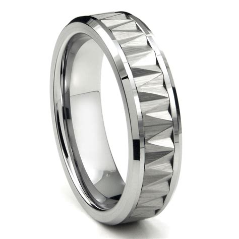 tungsten carbide zigzag pattern wedding band ring