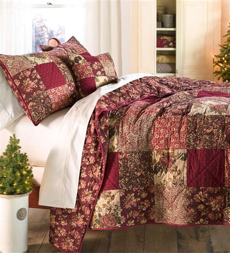 Patchwork Bed Linen - king cranberry floral patchwork quilt set beautiful
