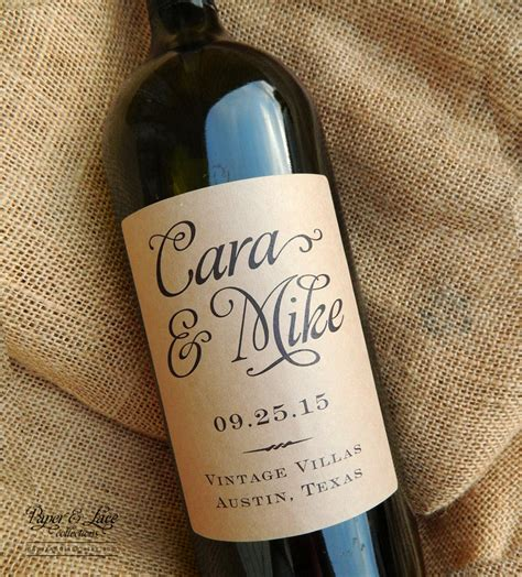 personalized wedding wine labels favor by paperandlaceaustin