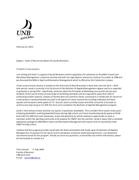Reference Letter For Mba Student Jacob Weinstein Reference Letter Mba Sports Recreation Feb 22