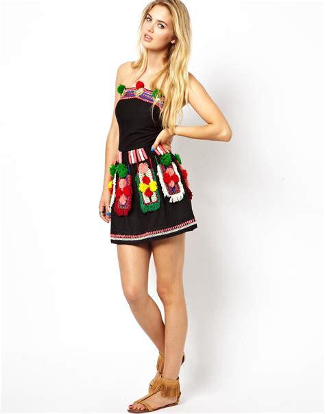 Lq 09 Pompom Dress manoush structured mini dress with neon stitching and pom
