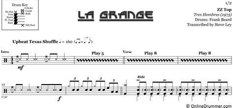 la grange drums la grange zz top drum sheet onlinedrummer