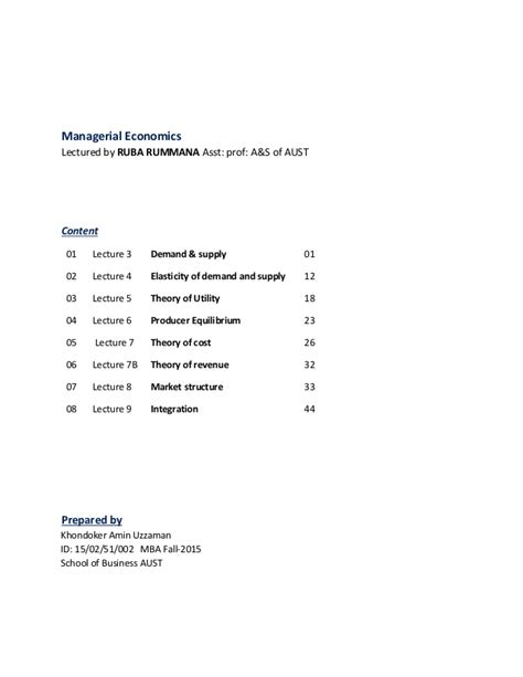 Business Economics Notes For Mba by Managerial Economics Note In A Document For Mba