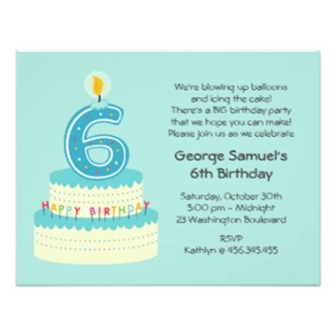 6 year birthday card template 6 6th six birthday invitations announcements zazzle