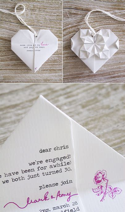 Origami Invitations - weddings in green diy origami invitations