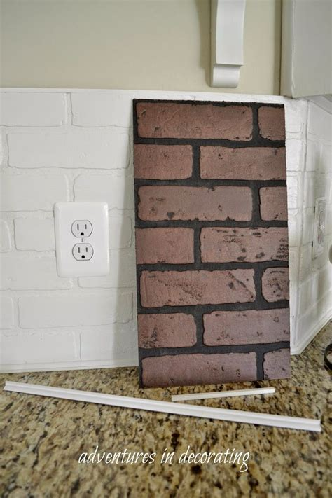 faux brick for kitchen backsplash adventures in decorating more changes in our kitchen we used taux brick wallboard to give