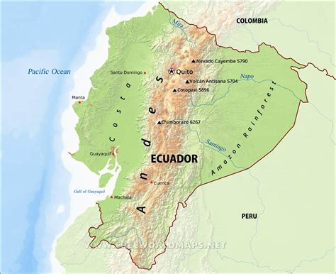 geographical map of ecuador geography detailed map of ecuador