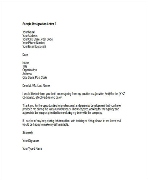 Resignation Letter Template Thank You Thank You Resignation Letter Templates 8 Free Word Pdf Format Free Premium
