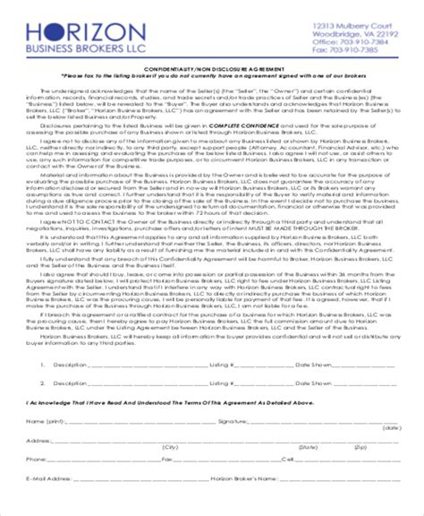 business broker agreement template sle business non disclosure agreement 7 exles in