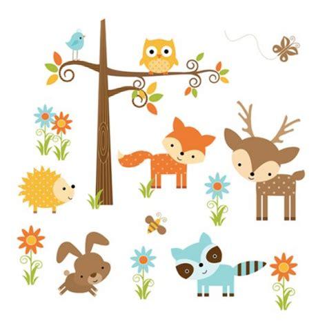 Woodland animals wall mural decals forest friends nursery decor 665