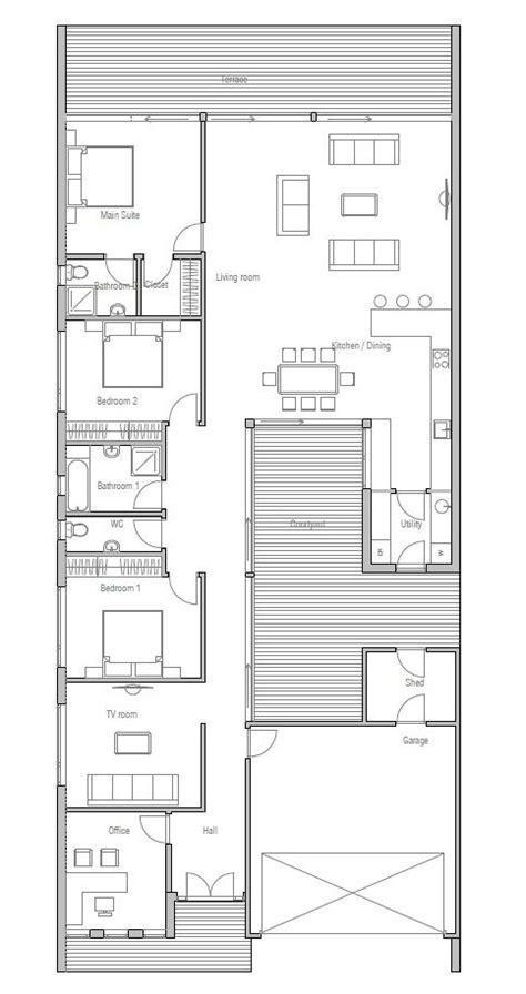 contemporary home plan  private courtyard open