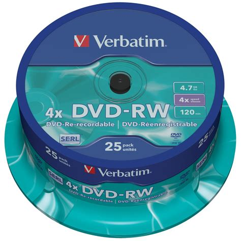 Dvd Rw Verbatim Casing 4x 4 7gb verbatim dvd rw rewritable discs 4 7gb 4x speed 25