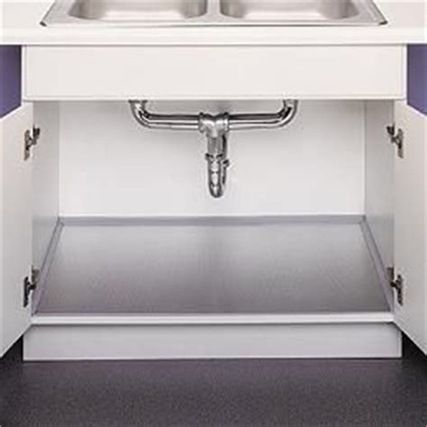 Kitchen Sink Cabinet Liner Polished Aluminum Undersink Liner Space Saving Ideas