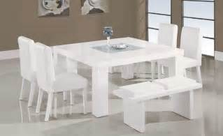 Modern White Dining Room Table by White Lacquer Finish Modern 7pc Dinette Set W Glass Inlay