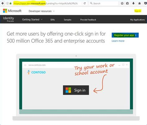 Office 365 Developer Portal Register Your Application To Work With Office 365 226 Part One