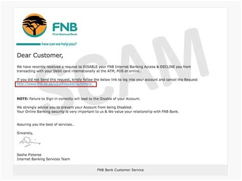 Bank Details On Company Letterhead Warning Fnb Account Deactivation Emails