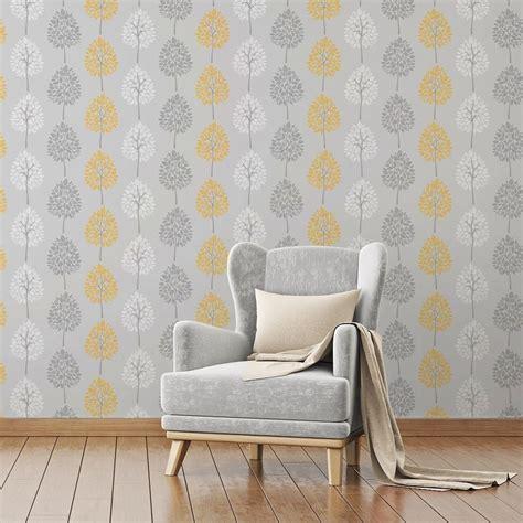 kitchen wallpaper grey and yellow fine decor wallpaper feature tree foliage grey