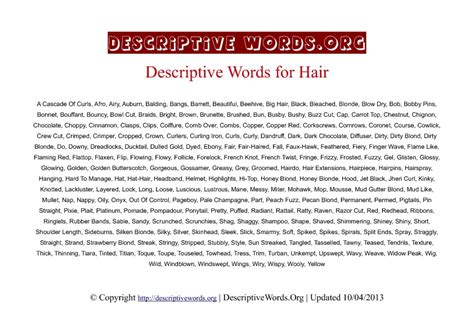 words to describe hair words descriptive words for hair color and styles descriptive