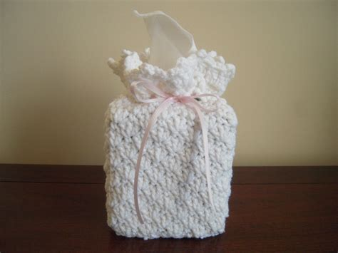 Handmade Tissue Box Cover - crocheted handmade tissue kleenex box cover white with pink