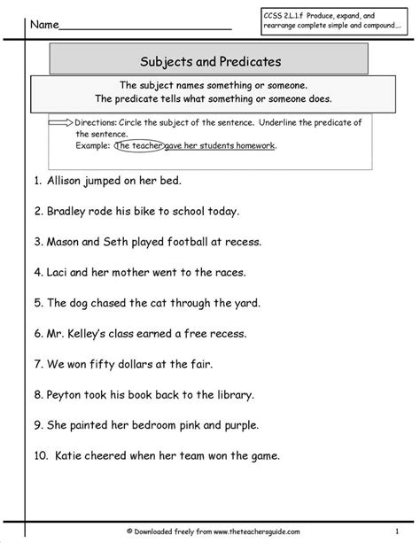 Subject Predicate Worksheet by 25 Best Ideas About Subject And Predicate On