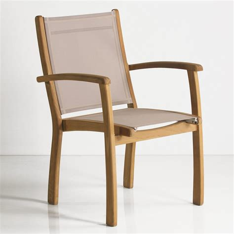 teak sling chair rivera teak outdoor sling stacking chair outdoor