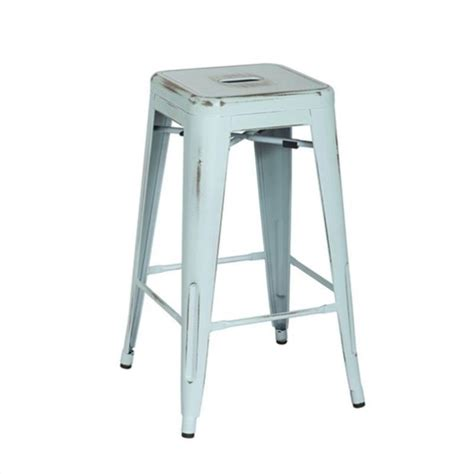 Blue Bar Stools Kitchen Furniture 26 Quot Metal Bar Stool In Antique Sky Blue Set Of 2 Brw3026a2 Asb