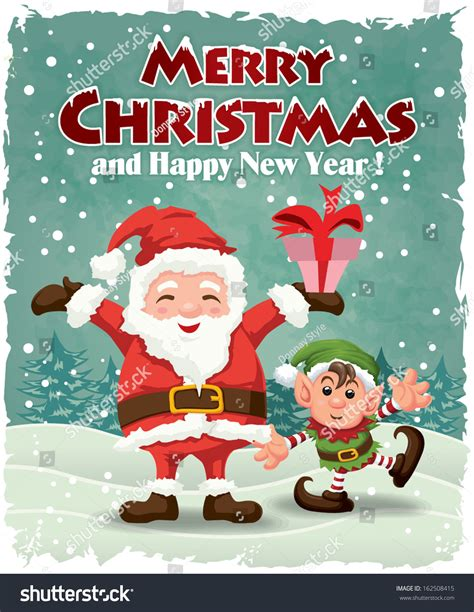 printable santa poster vintage christmas poster design santa claus stock vector