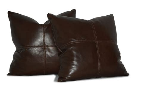 Leather Throw Pillows For by Square Genuine Leather Accent Throw Pillows Set Of 2
