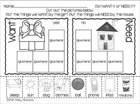 collection of wants and needs worksheets bloggakuten
