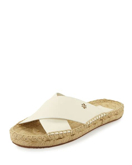 ivory flat sandals burch bima leather flat espadrille slide sandal ivory
