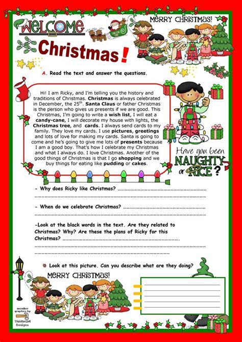 printable christmas reading games christmas reading worksheet free esl printable