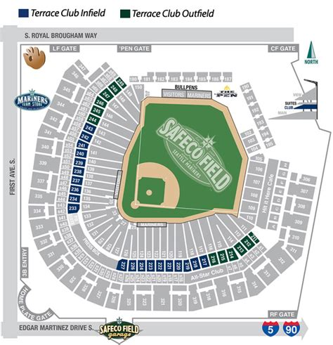 seattle mariners map terrace club mariners tickets