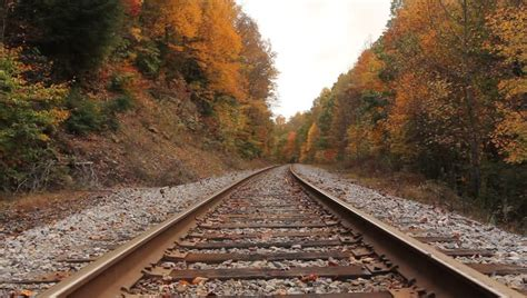 train trestle bridge  beautiful fall leaves stock