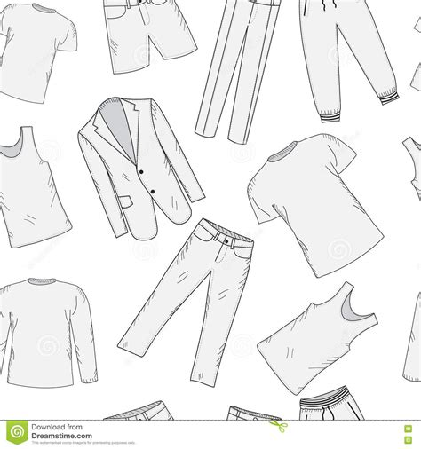 fashion vector background pattern clothing set seamless pattern sketch men s clothes hand