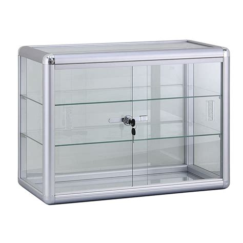 Countertop Showcase by 2 Shelf Aluminum Frame Glass Countertop Showcase