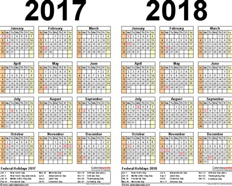 printable year calendar 2017 and 2018 2017 2018 calendar free printable two year pdf calendars