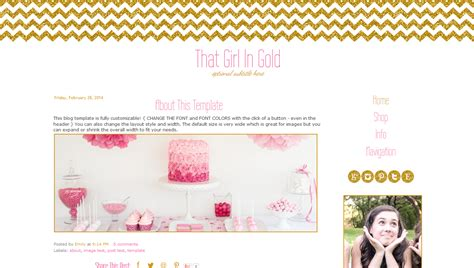 pink and gold blogger template premade blog design