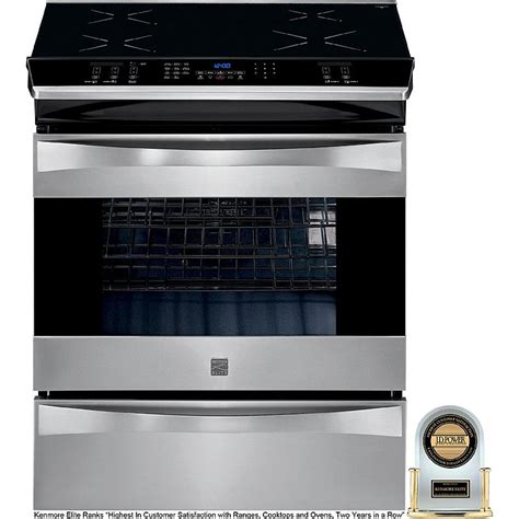 electric induction slide in range kenmore elite 45013 30 quot slide in induction range stainless steel sears outlet