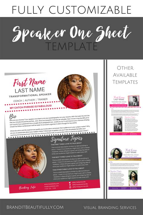 Speaker One Sheet Template Spicyred Canva Template Canvatemplate Allison Denise Designs Canva Website Template