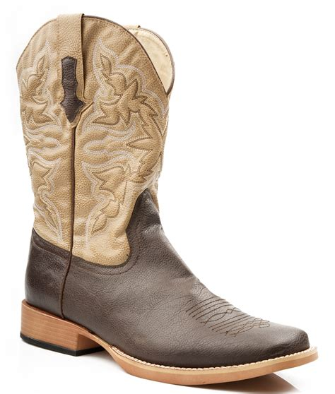 roper mens square toe brown faux cowboy western leather