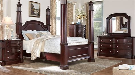 poster bed bedroom sets dumont cherry 7 pc queen high poster bedroom queen