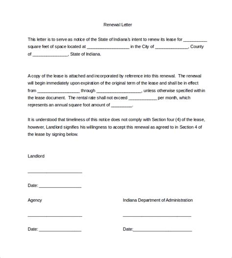lease renewal letter templates ms word