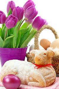 An easter meal where usually the easter lamb is the focal point of the