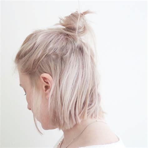 how to make a bun with a bob cut high bun hair messy bun lob long bob blonde platinum