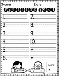 printable spelling journal free spelling test template lost this now i need it