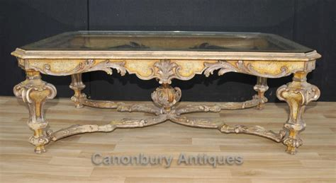 Baroque Coffee Table Italian Painted Baroque Coffee Table With Glass Top Tables