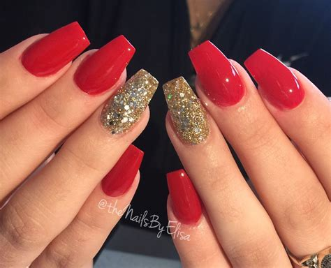 black and red love pattern fake nails japanese cute false red and gold acrylic nails untouched nofillter
