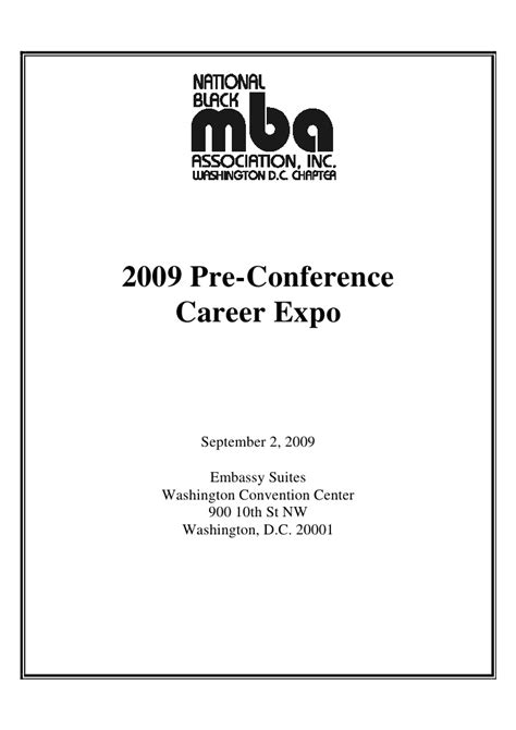Pre Mba Conferences by 2009 Nbmbaa Dc Career Expo Program