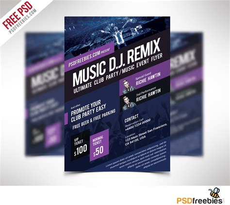 music event flyer template free psd download download psd