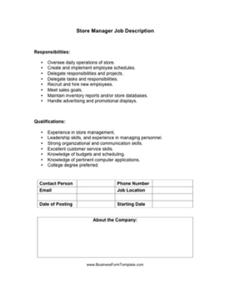 Store Manager Job Description Template Store Manager Description Template
